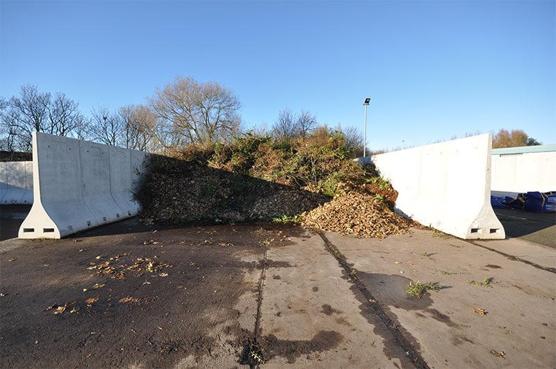 2.4m high Free Standing Bunker Retaining Walls used to store garden waste to be recycled