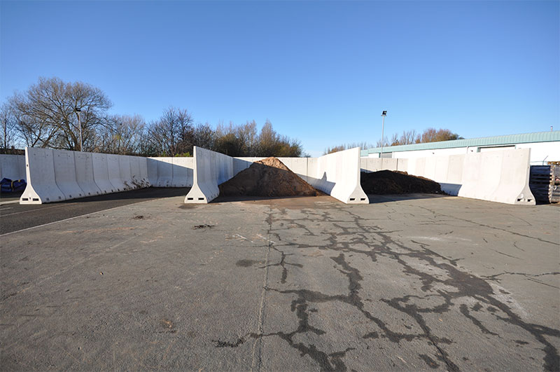 2.4m high Free Standing Bunker Walls used to form bunkers for storage of waste to be recycled in Ayrshire