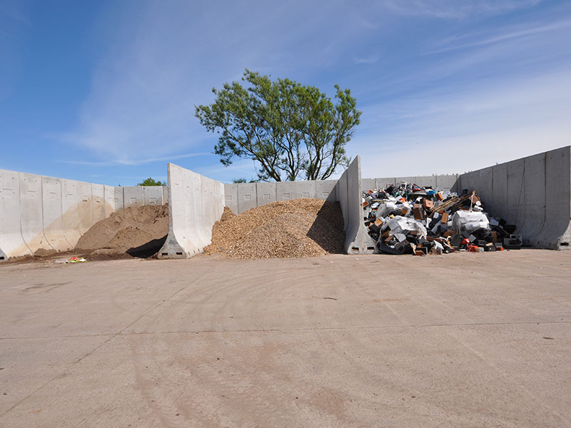 3.6m (12') high Bunker Retainer Walls used to construct storage bays for recycled material