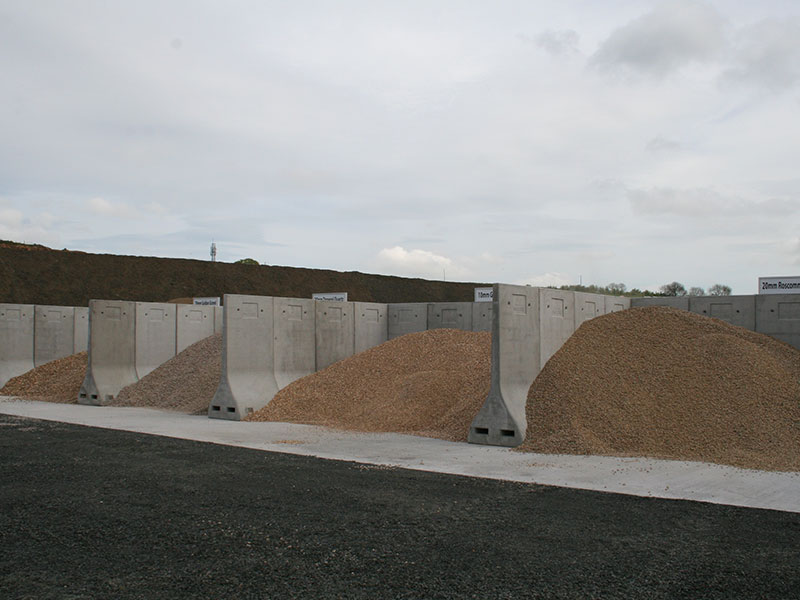 Bunker Walls used to form bays for storage of aggregate