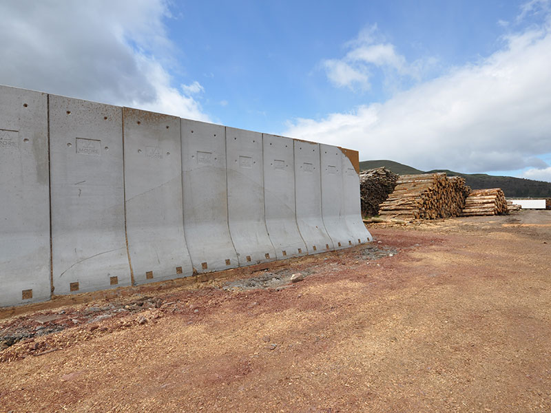 Concrete Bunker Retainer Walls used to store timber for biomass