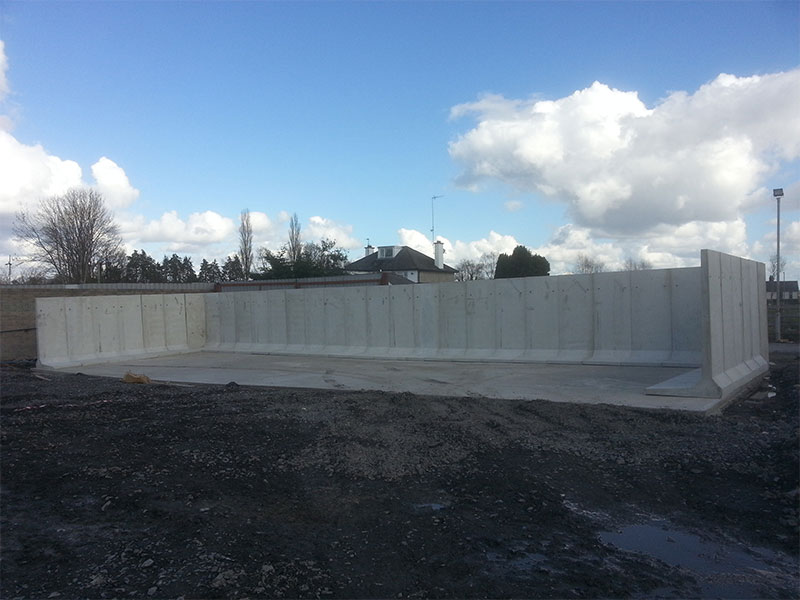 Free Standing Retainer Walls used to construct storage bay for bulk materials