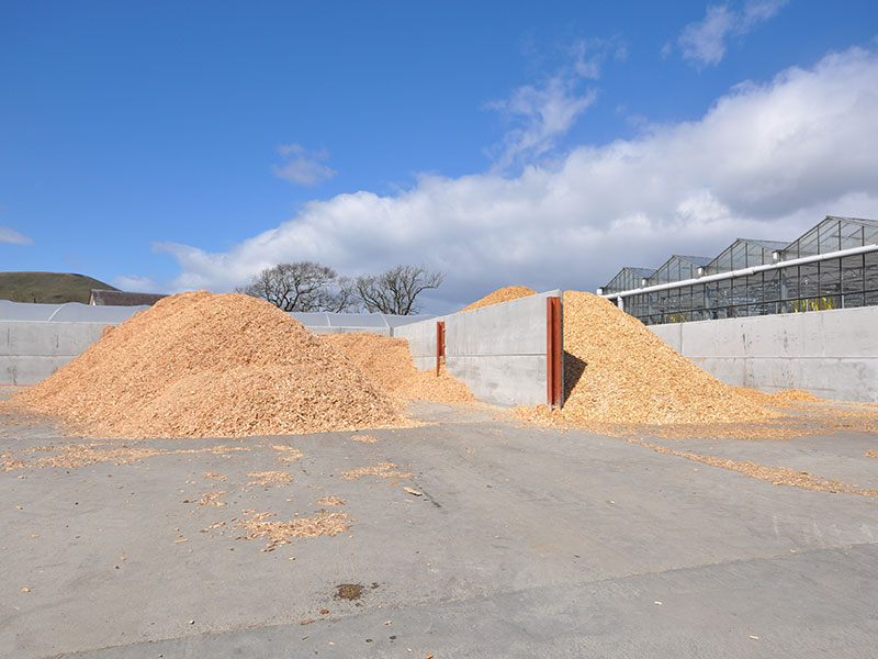 Prestressed Wall Panels used to form storage bays for woodchip for biomass in Edinburgh