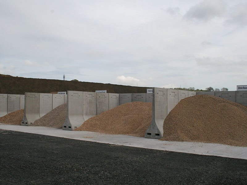 Storage bays constructed using Bunker Retainer Walls