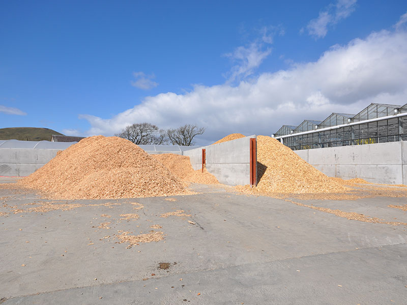 Storage bays for woodchip for biomass constructed using 150mm thick Prestressed Wall Panels